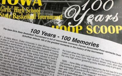 100 Years Hoop Scoop. Iowa Girls' High School Basketball Tournament.