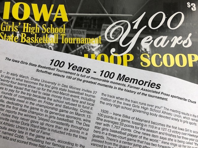 100 Years Hoop Scoop. Iowa Girls' High School Basketball Tournament.