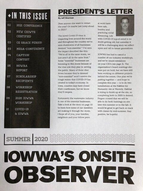 IOWWA (Iowa Onsite Waste Water Association) Newsletter